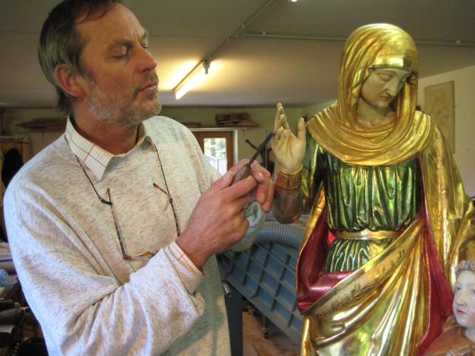 Holzschnitzer- Restaurierung Hand restauriert - Maria mit Kind